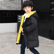New boys winter jacket 3 to 14 years old hooded children's patchwork down jacket baby boy   winter jacket boy child warm coat ka ji en girls down jacket boy child baby jacket wool tie cap thicker coat baby jacket