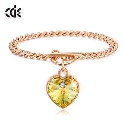CDE роскошные золотые браслеты с сердечками для женщин с кристаллами от Swarovski, браслеты из нержавеющей стали, модные ювелирные изделия, шесть ...