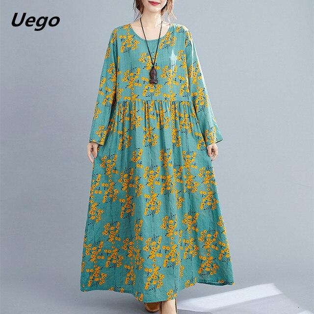 Cotton Loose Women Casual Spring Dress Long Sleeve Autumn Dress Plus Size Long Maxi Dress Print Floral Female Vintage Dress 1