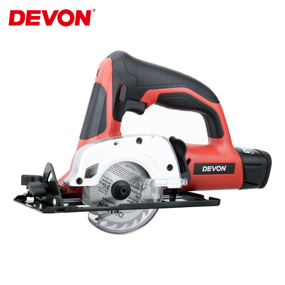 DEVON Electronic Cordless Circular Saw 12V DC Woodworking Power tools Lithium-ion Battery Cutting Machine w/ Vacuum Cleaner