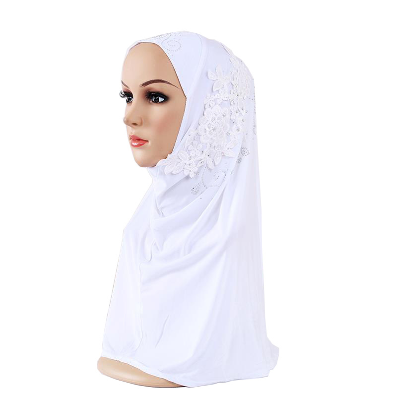 Купить с кэшбэком Muslim Instant HIJAB Turban With Diamonds Flower Hijab Caps For Women And Girl Headscarf Islamic scarves Ready To Wear