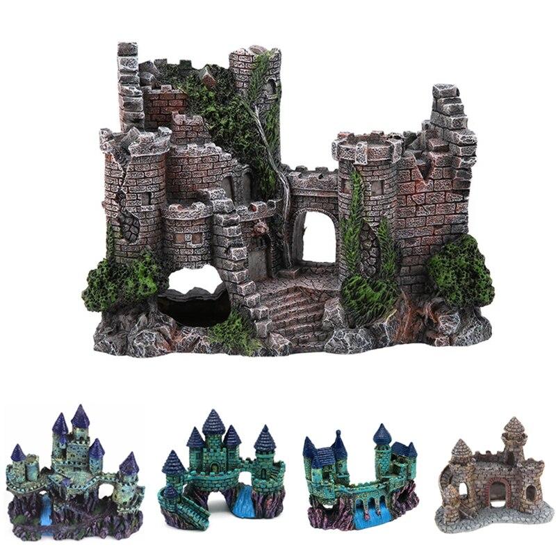 Искусственный аквариумный замок, украшение, старинная башня, украшение для аквариума, каменная пещера для рыбы, креветки, декоративные шарики|Декорации|   | АлиЭкспресс