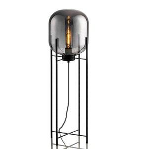 Image 1 - 북유럽 복고풍 플로어 조명 거실 서 조명 홈 장식 설비 철 유리 조명 침실 플로어 램프