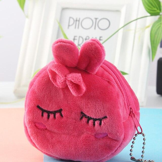 Cartoon plush ladies coin purse cute anime coin bag key bag female children student wallet gift bag female zipper casual bag 3