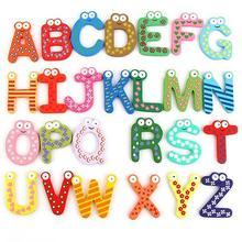 26 Alphabet Magnetic Letters A-Z Wooden Fridge Magnets Baby Kid Education Toys Alphabet Magnetic Letters A-Z Fridge Magnets