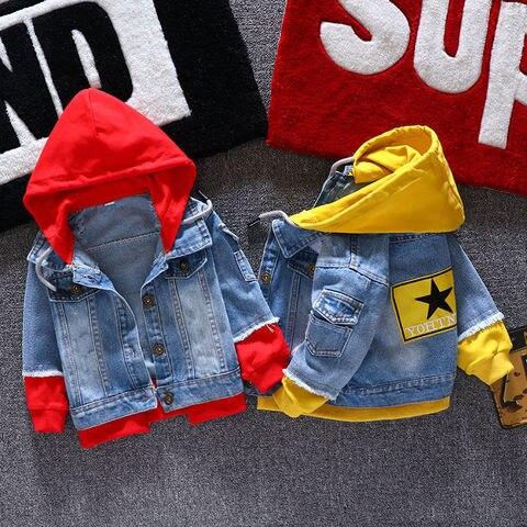menino menina denim jaquetas criancas moda casaco criancas splice outerwear roupas primavera outono com capuz