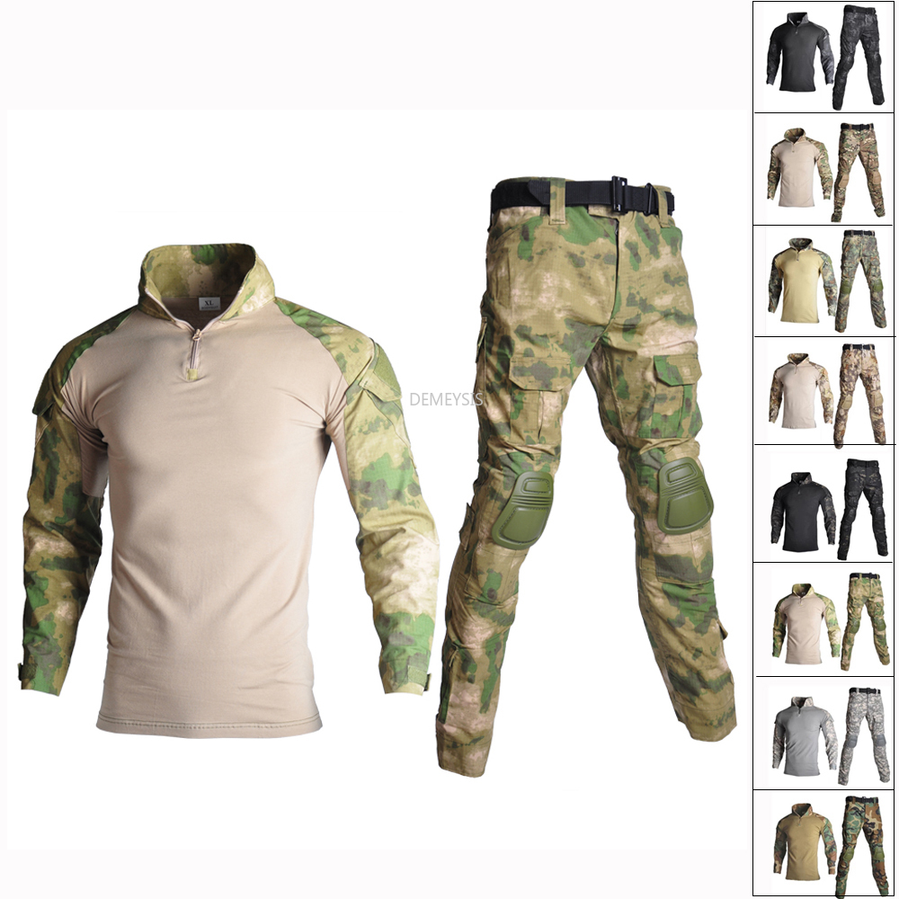 Atacs FG Military Army Uniform Airsoft War Game Camouflage Clothing  Tactical Combat Suit with Elbow Knee Pads