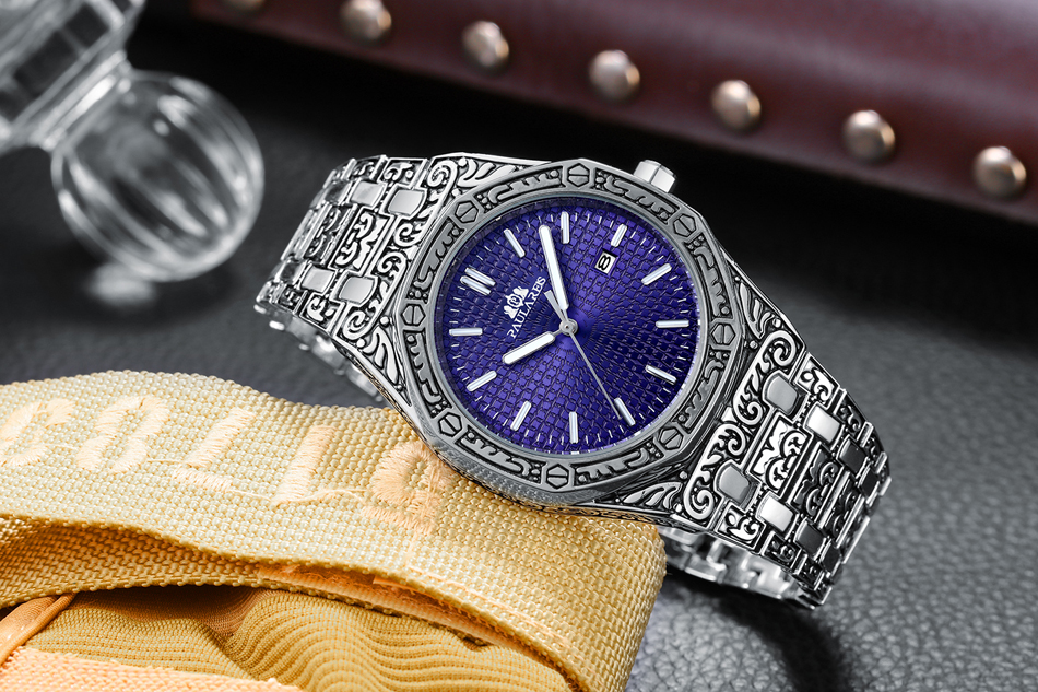 Men Carved Antique Vintage Luminous Rose Gold Yellow Gold Silver 2 Tones Fashion Blue Classic Quartz Men Carved Antique Vintage Luminous Rose Gold Yellow Gold Silver 2 Tones Fashion Blue Classic Quartz luxury watch
