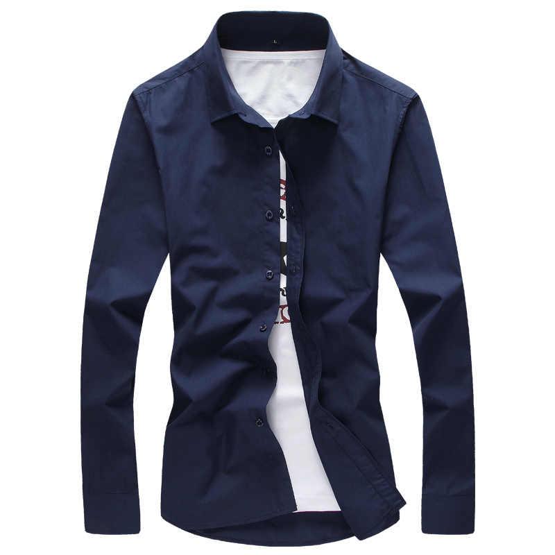 2020 브랜드 남성 셔츠 남성 드레스 셔츠 남성 캐주얼 긴 소매 비즈니스 공식 셔츠 Camisa Social Masculina