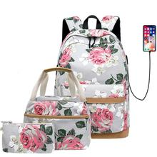 School Backpack Bag Canvas College Bags Casual Travel Rucksack With Shoulder Bags And Pencil Case For Students Boys Teens Girls augur 2018 new arrive female canvas women travel backpack high school students of teens girl for lunch box bag pencil