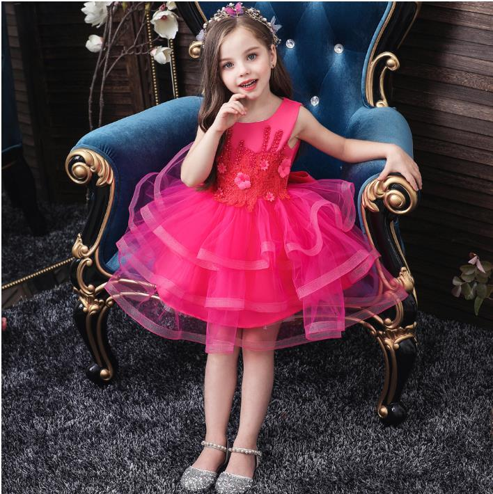 New Girls Back Hollow Flower Dress High-end Dress Elegant Girls Flower-lace Banquet Dress Christmas Gown Kid's Size 2-10years