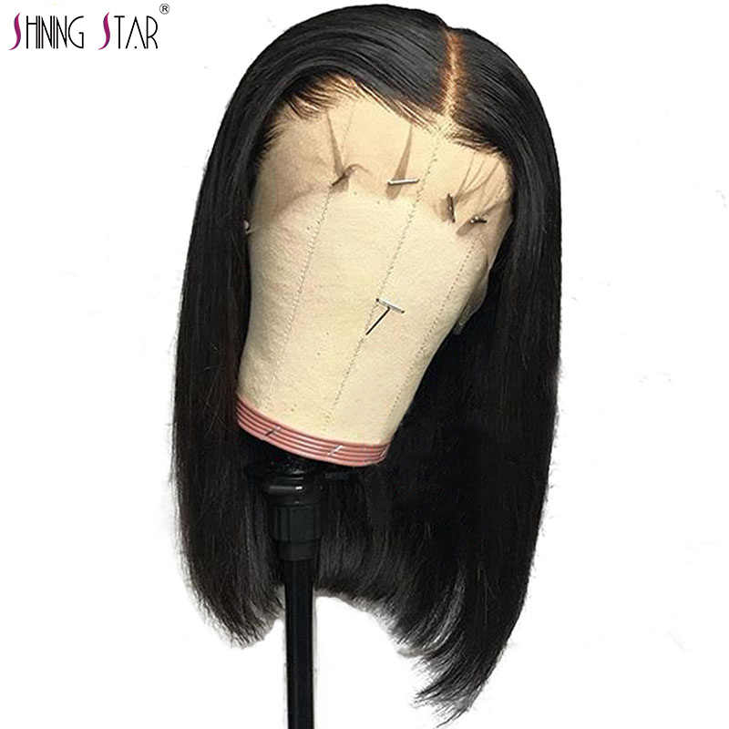 Peruvian Natural Color Straight Bob Lace Front Wigs Human Hair Wigs Shining Star Nonremy Pre Plucked Hairline With Baby Hair
