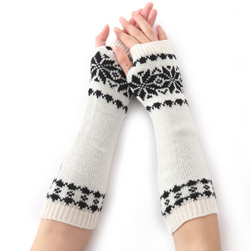 Winter Women Long Warm Sleeves Mittens Female Snowflake Acrylic Stretch Knit Half Finger Fingerless Arm Warmers Gloves C75