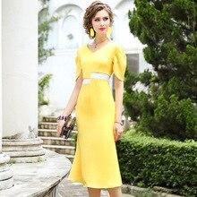 オフィス女性のロングドレス 2019 新しい高品質女性のセクシーな V ネックパーティードレス S xxxl ヴィンテージ夏有名人ドレス黄色