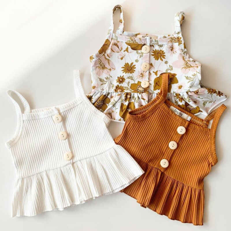 2 PCS Kids Baby Girl summer Clothes Sleeveless Knitted Vest Tops Dress Flower Shorts Pants sweet girls Floral Outfit Set