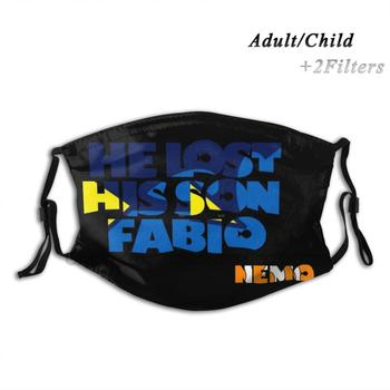 He Lost His Son , Fabio. Nemo. Adult Kids Washable Funny Face Mask With Filter Dory Nemo Fabio Chico Marlin Finding Musical image
