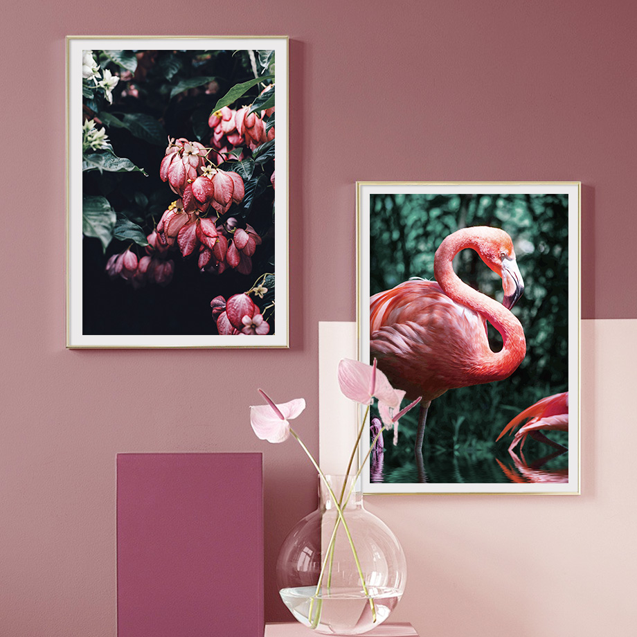 Mussaenda Hybrida Flamingo Wall Art Print Canvas Painting Nordic Poster And Prints Pictures For Living Room Decor