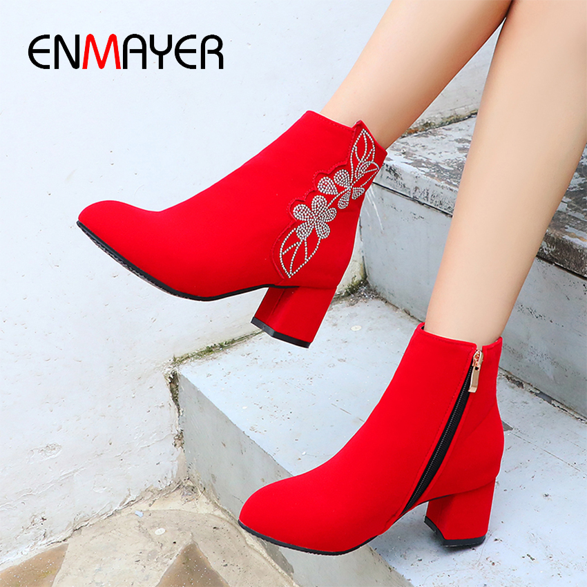 ENMAYER Round Toe Square Heel Flock Red Boots Ankle Nubuck Zip Solid Women Flower PU Fleeces High Winter