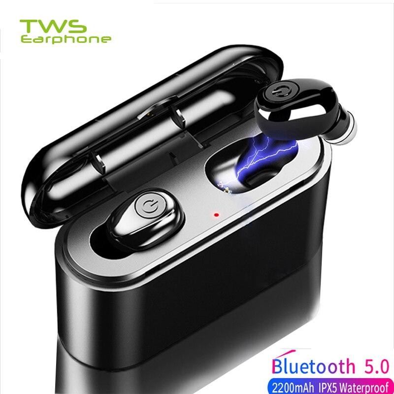 TWSEarphone X8 Wireless Earphones Bluetooth 5 Earbud TWS 5D Stereo Earbuds Mini Waterproof Headfrees 2200mAh Power Bank