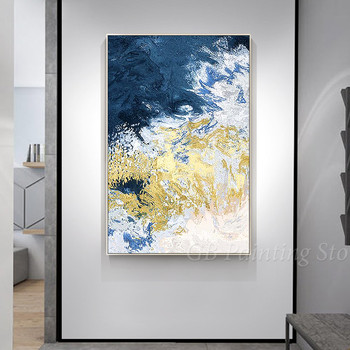 Modern Abstract Black and Gold Navy Blue Mountain painting acrylic Hand paintings on canvas extra Large wall art framed art