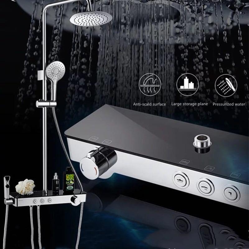 Sabit sıcaklık duş seti tam bakır basınçlı duş rafları ile kadın yıkama püskürtme tabancası banyo banyo ev