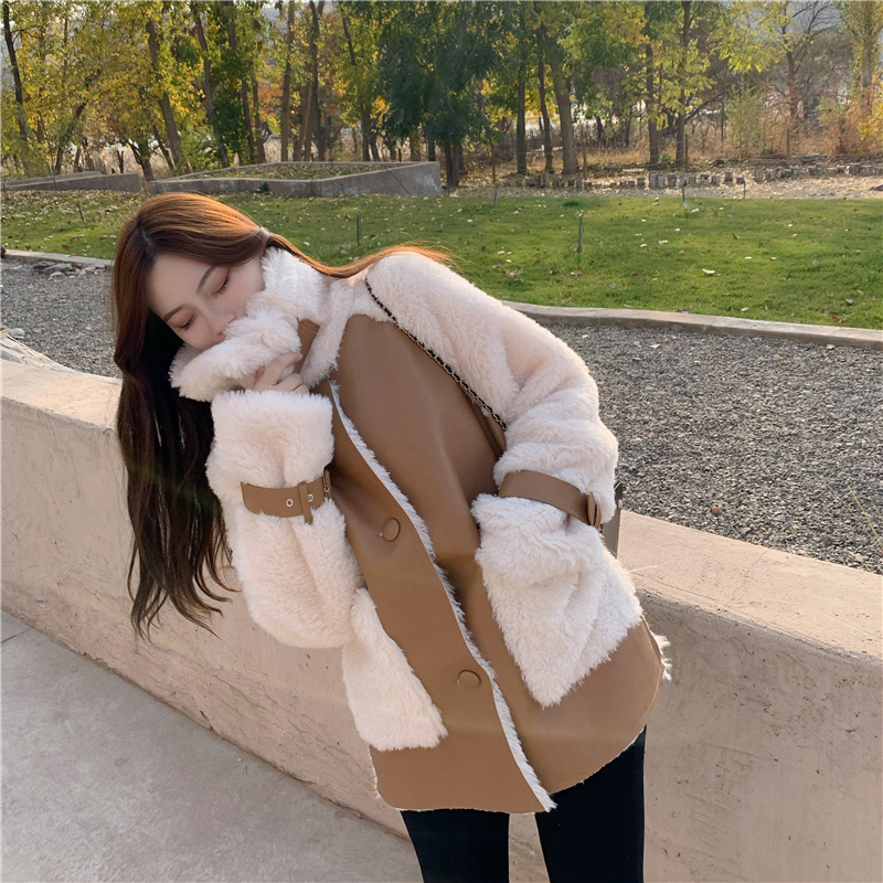 He3784a6f39434e4dbcb5fb8c94c898bcF Winter Women High Quality Fur Coat Loose Collar Design Integrated Long Splicing Single-breasted Cotton-padded Pocket Jackets