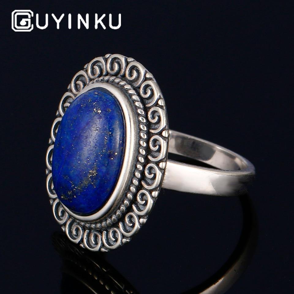 Girls 925 Sterling Silver Oval Lapis Lazuli Fashion Ring