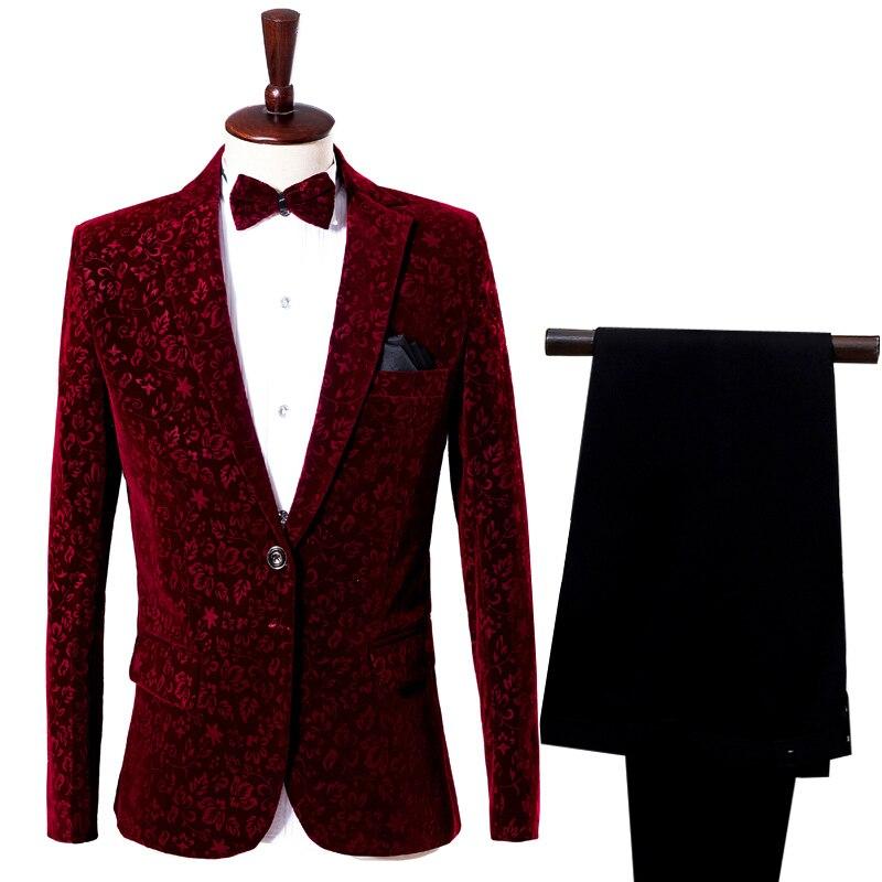 Men's Fashion Casual Suit Wine Red Dark Floral Pattern One Button Slim Soft Suit Two-piece Set (Coat+Pants) Cocktail Party Set