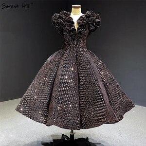 Image 1 - Schwarz Gold V ausschnitt Luxus Abendkleider 2020 Ärmellose Pailletten Sparkle Tee Länge Formale Kleid Ruhigen Hill HA2306