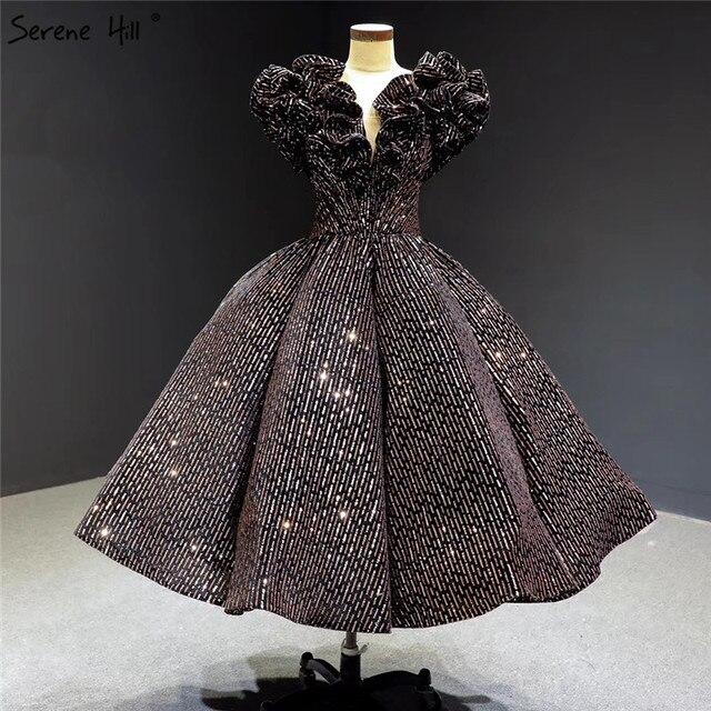 Schwarz Gold V ausschnitt Luxus Abendkleider 2020 Ärmellose Pailletten Sparkle Tee Länge Formale Kleid Ruhigen Hill HA2306