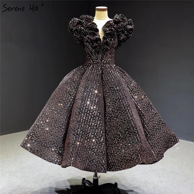 שחור זהב V צוואר יוקרה ערב שמלות 2020 שרוולים נצנצים Sparkle תה אורך פורמליות שמלת Serene היל HA2306