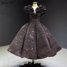 Vestidos de Noche de lujo con cuello en V, negro y dorado, sin mangas, con lentejuelas, Sparkle Tea Length, vestido Formal Serene Hill HA2306, 2020