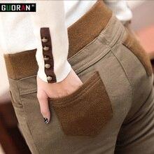 Delle donne di inverno caldo di stirata di alta elastico in vita pantaloni di cotone casuale Più Il formato S 4XL in pile di spessore signore della rappezzatura dei pantaloni della matita