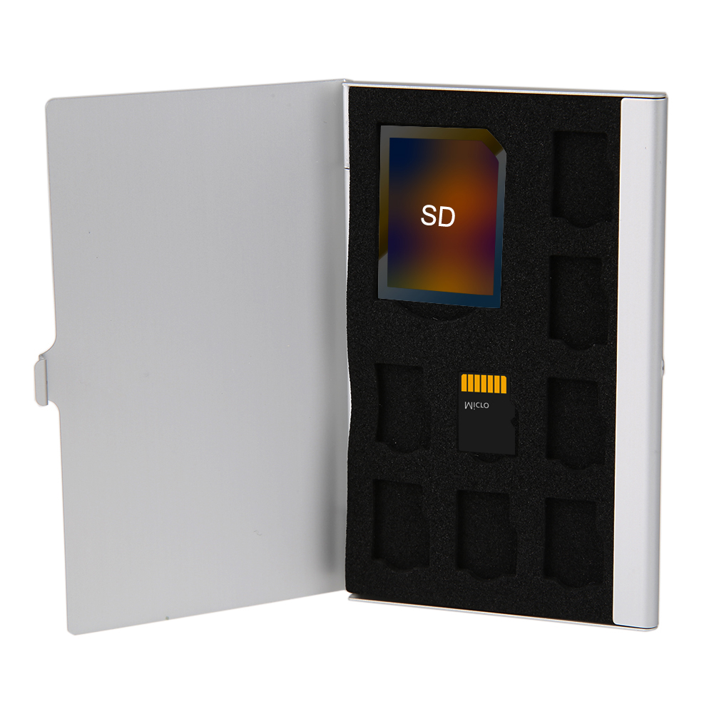 Memory Card Storage Case Box Silver Monolayer Aluminum 1SD+ 8TF Micro SD Memory Cards Case Pin Storage Box Case Holder Hot Sale