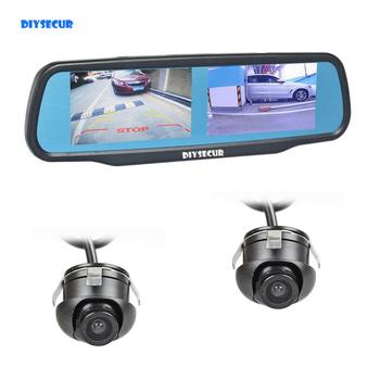 "DIYSECUR Double 4.3"" Screen Rearview Mirror Car Monitor with 2 x CCD Car Rear View Camera for Rear/ Front / Side View Camera"