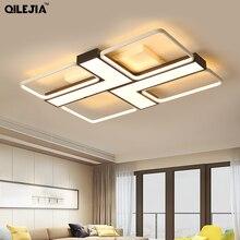 Светодиодный потолочный светильник для гостиной, спальни, белый, черный металлический потолочный светильник для спальни, потолочные светильники 110 В 220 В