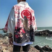 Кимоно для мужчин, японское кимоно, кардиган для косплея, рубашка, блузка для мужчин, японское юката хаори, летнее пляжное кимоно для мужчин размера плюс 5XL