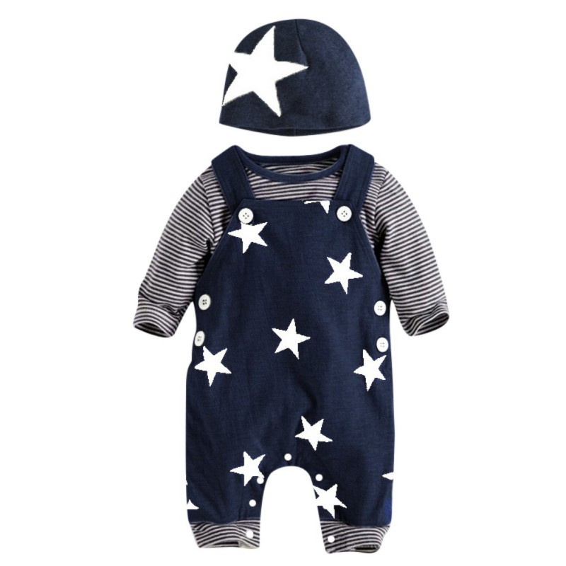 3pcs Baby Boy Clothes Sets Autumn Baby Boy Long Sleeve Striped T-Shirt Tops+Star Suspenders Pants+Hat Outfits Clothes