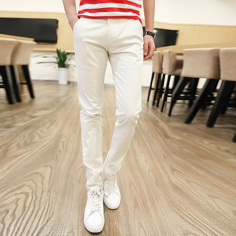 Network Hot Selling 1618 Casual Pants Men'S Wear Elasticity Straight-Cut Skinny Pants Versitile Fashion Thin Men's Youth Trouser