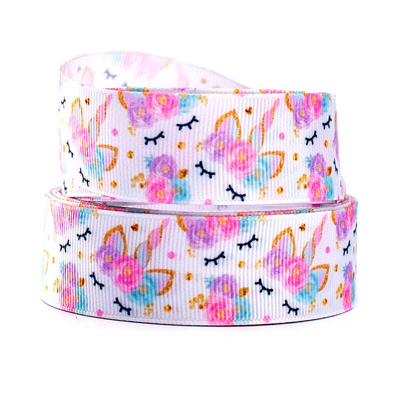 10yards different sizes cute cartoon Unicorn pattern printed Grosgrain ribbon