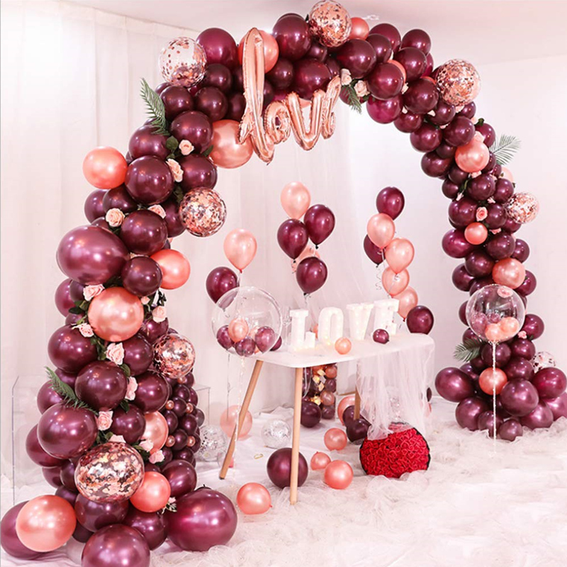 Baby Shower Party Decorations Birthday 12inch Rose Gold Confetti Balloons Latex Balloon for Weddings 50 Pcs Rose Gold Balloon Set