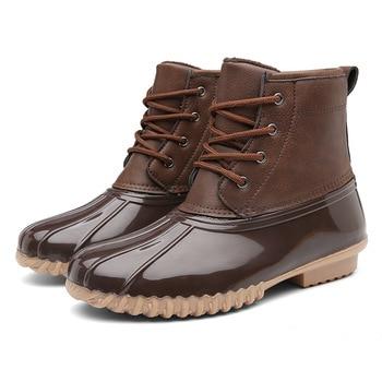 ZYYZYM Women's Ankle Rain Duck Boots Fur Warm With Waterproof Snow Shoes Ladies Winter Short Booties Women Snow Boots