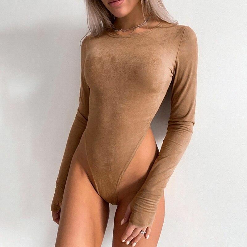 O-Neck Long Sleeve Bodysuit Women Suede 2020 Autumn Winter Sexy Body Top Khaki Casual Solid Lady Bodysuits Streetwear