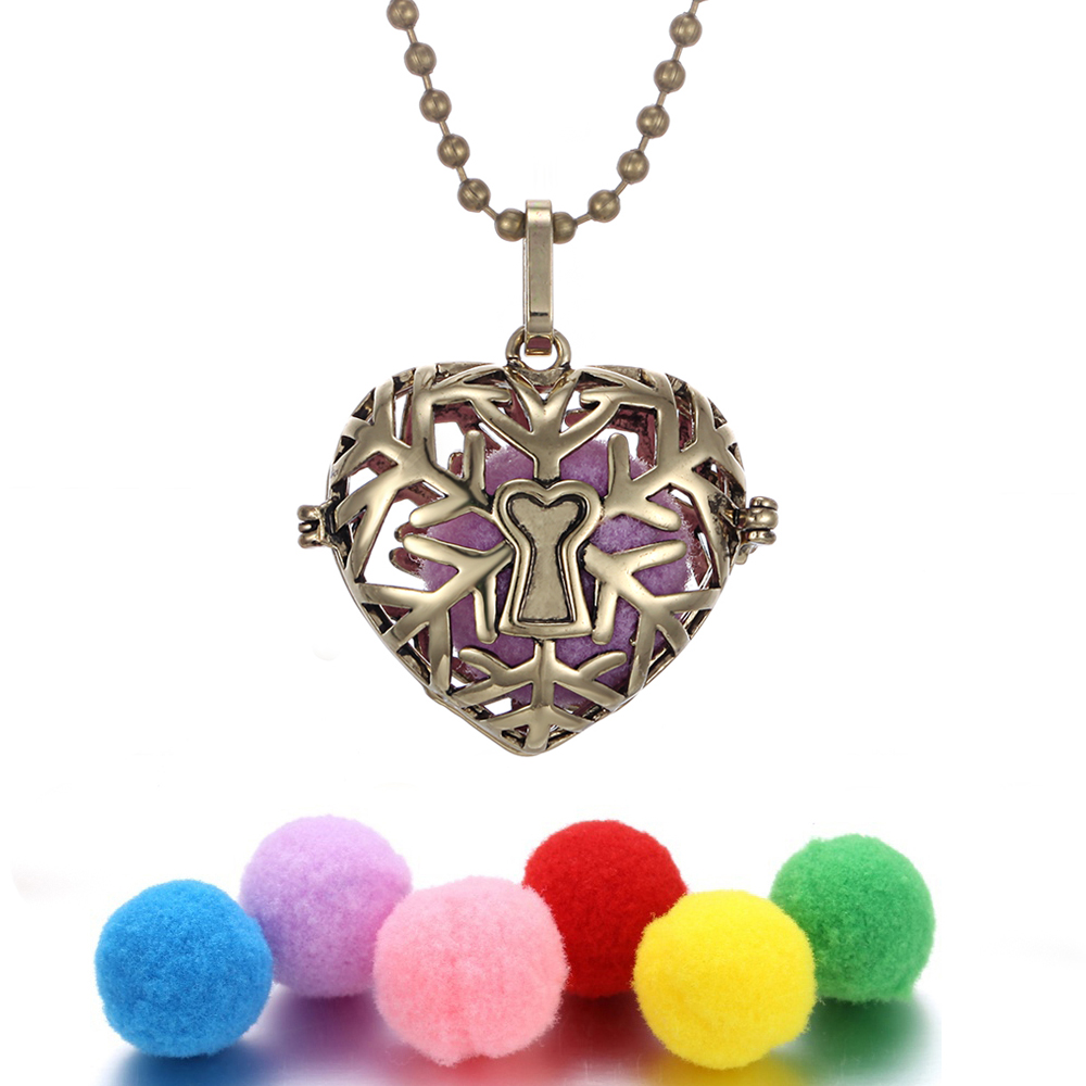 Aromatherapy Necklace Jewelry Perfume Essential Oil Diffuser Multi Style Love Heart Locket Angel Caller Chime Ball with 6pcs Pad in Pendant Necklaces from Jewelry Accessories