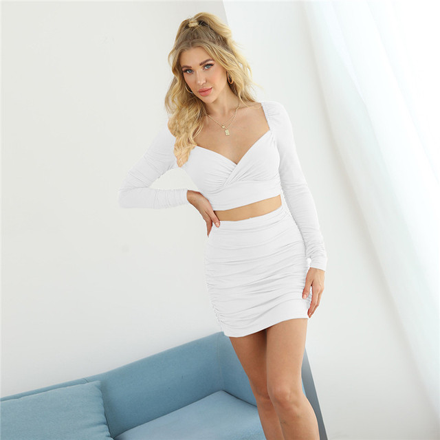 CNYISHE Winter 2020 Two Piece Sets Elegant Crop Top and Mini Skirts Suits Women's Tracksuit Solid Office Lady Matching Set Suit 4
