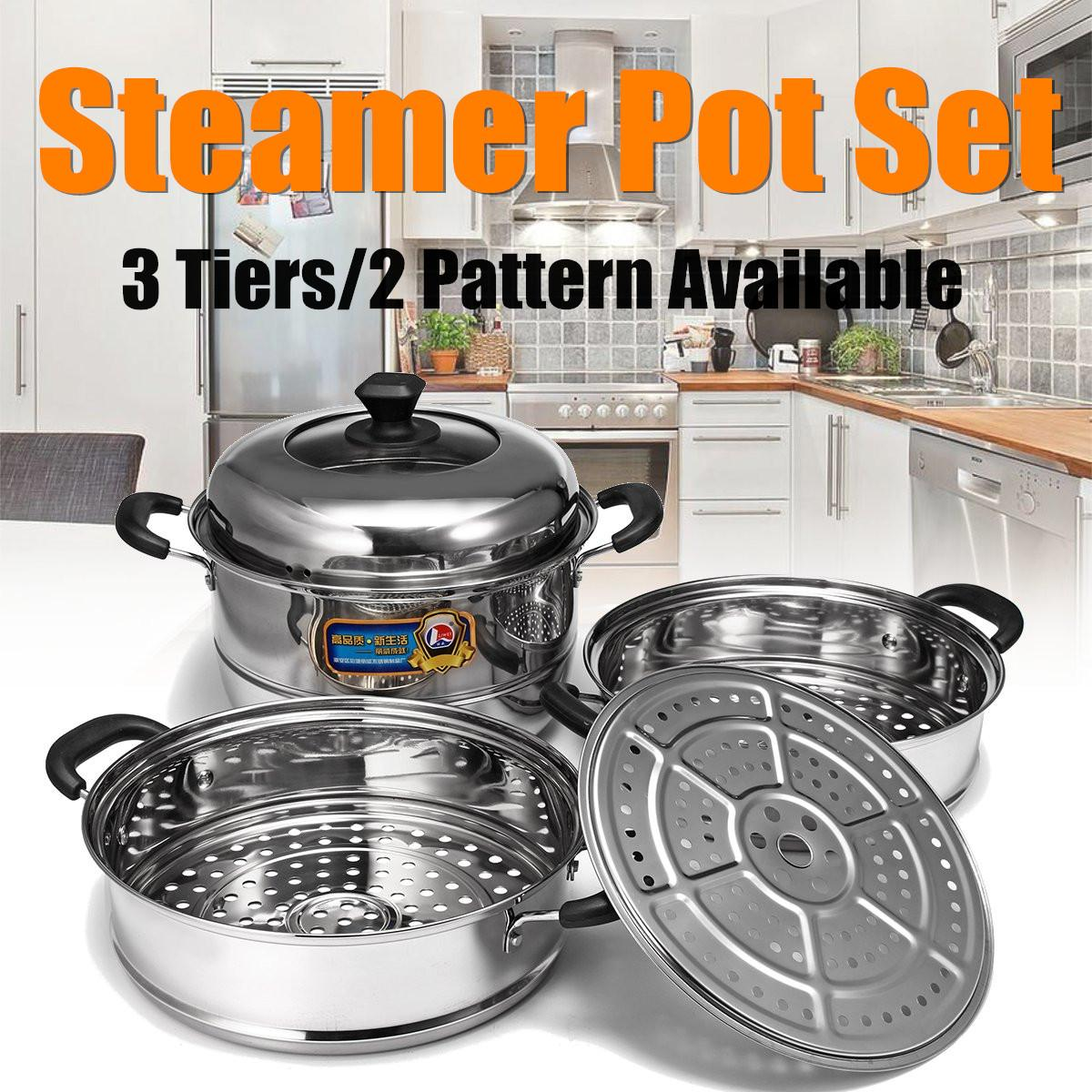 3 Tier Multi-function Steamer Stainless Steel Steam Pot Cookware Home Kitchen Cooking Steamers Boiler Tools Induction Cooker