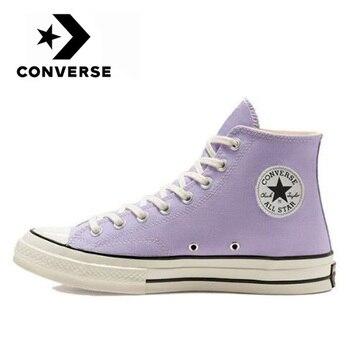 Orijinal Converse Chuck Taylor All Star Erkekler Ve Kadınlar Unisex Kaykay Sneakers Günlük Eğlence Yüksek Mor Düz Kanvas Ayakkabılar