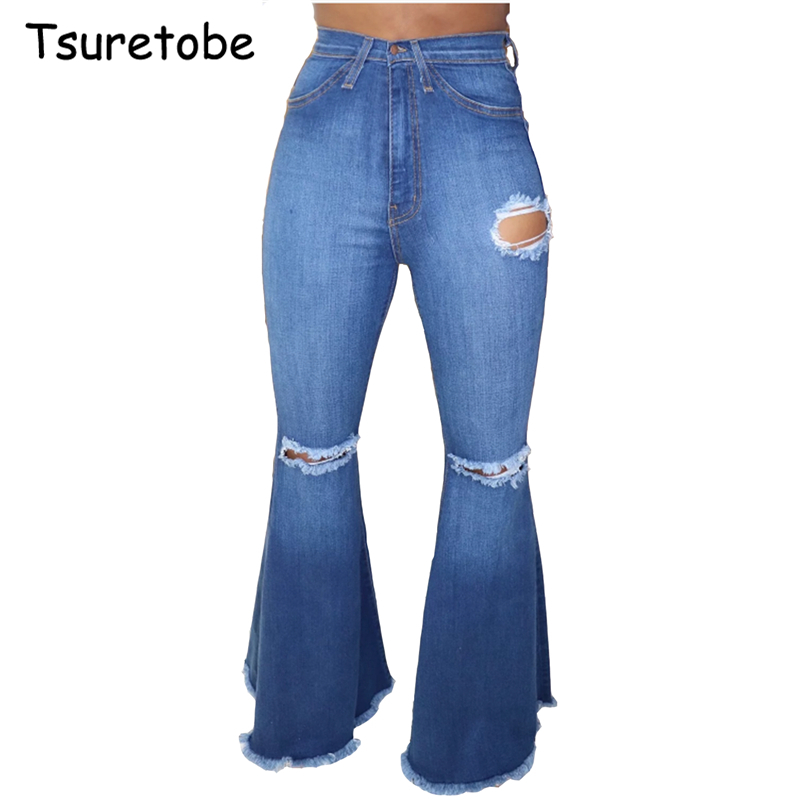 Tsuretobe Fashion Hole Ripped Denim Flare Pants Wide Leg Women Vintage Bell-Bottoms Jeans Casual Boot-Cut Pant Female Trousers