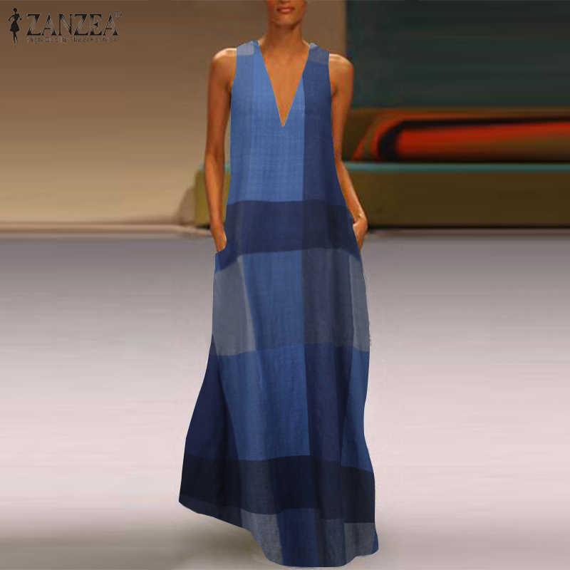 Mode Gedrukt Maxi Jurk Vrouwen Zomer Zonnejurk Zanzea 2020 Casual Mouwloze Tuniek Vestidos Vrouwelijke Check Gewaad Oversized