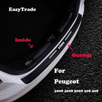 Car Rear Door Sill Plate Protector Anti Scuff Trunk Leather sticker For Peugeot 3008 4008 5008 408 308 Auto Accessories